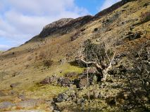 Looking up rugged hill to Sergeant`s Crag Stock Photos