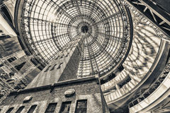 Looking up beside shot tower at the domed roof of Melbourne cent Stock Photography