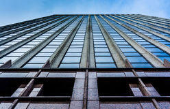 Looking up the side of a modern building in downtown Baltimore, Royalty Free Stock Images