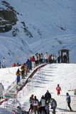 Looking up the ski slopes of the Sierra Nevada mountains in Spain stock photography