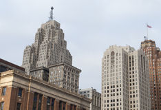 Downtown Buildings. Looking up at the skyline of a busy downtown area.  Detroit, MI Royalty Free Stock Photos