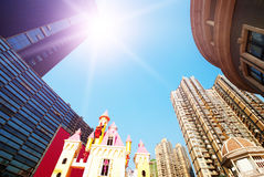 Looking Up at the Skyscrapers. Looking up at skyscrapers by daylight royalty free stock image