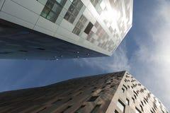 Looking up between skyscrapers Stock Image