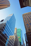 Looking up at skyscrapers in Lower Manhattan Stock Images