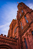 Looking up at the Smithsonian Castle, in Washington, DC. Royalty Free Stock Photos