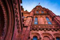 Looking up at the Smithsonian Castle, in Washington, DC. Royalty Free Stock Images