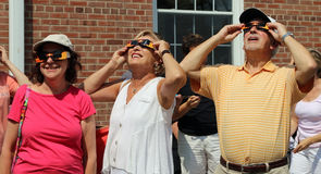 Looking Up At The Solar Eclipse Stock Photo