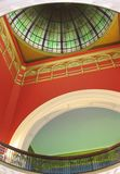 Looking up at a stained glass domed roof royalty free stock photos