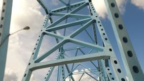 Looking Up at Steel Beams on a Bridge.  stock footage