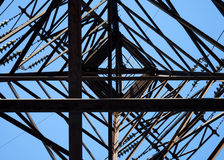 Looking up on high voltage pylon. Looking up on steel high voltage pylon Royalty Free Stock Photography