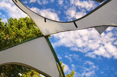 Looking Up Through Tent stock images