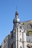 Looking up to Church and citadel of Dinant, Belgium Royalty Free Stock Image