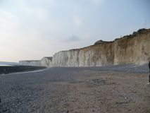 Looking up to the enormous cliffs of Dover stock image
