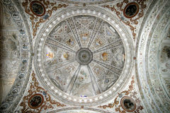Looking up to the heavens. View of a church cupola from below looking up. Church is in Southern Spain royalty free stock photography