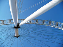 Looking up to the London Eye. A view up to the central hub of the London Eye on a blue sky day Royalty Free Stock Photo