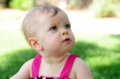 Looking up to Mom and Dad. A one year old girl looking up to one of her parents Stock Photography