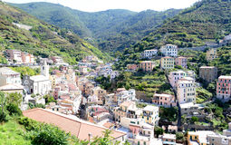 Looking up to Riomaggiore, small Italian riviera town Stock Photography