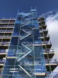 Apartment block scaffolding Edinburgh Scotland UK stock image