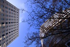 Looking Up to the Sky in Downtown Stock Photography