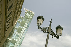 Looking up to a view of a street lamp and the Barcelona Museum of Contemporary Art, Barcelona, Spain Stock Photos