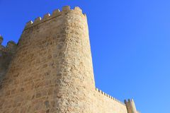 Looking up to the wall of Avila Royalty Free Stock Photos
