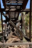 Looking up at trestle stock photos