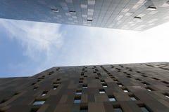 Looking up between two skyscrapers Stock Image
