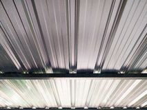 Looking up under metal sheets roof royalty free stock photo