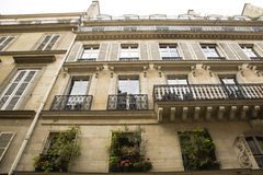 Looking up at Various Parisian Windows, Balconets, Royalty Free Stock Photos