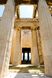 Looking up view of famous temple pillars in Greece Royalty Free Stock Photography