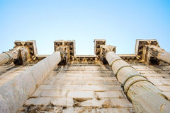 Looking up view of famous temple pillars in Greece Royalty Free Stock Photos