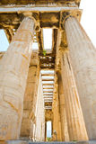 Looking up view of famous temple pillars in Greece Stock Photos
