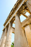 Looking up view of famous temple pillars in Greece Royalty Free Stock Image