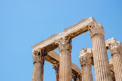 Looking up view of famous Zeus temple pillars in Greece Stock Images