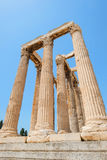 Looking up view of famous Zeus temple pillars in Greece Stock Photography