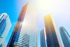 Looking up view in financial district, the silhouettes of skyscrapers city reflect blue sky, sun lights in Tokyo, Japan Royalty Free Stock Photography