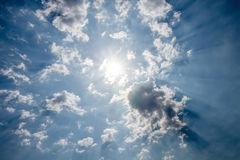 Looking up view of panorama blue sky with clouds and sun reflect Royalty Free Stock Photography