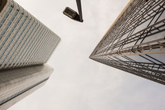 Looking up view of tall buildings in Frankfurt Stock Photography