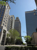 Looking Up at the Winston-Salem Skyline. And down the main drag. Buildings include (left to right): One West Fourth Street, R.J. Reynolds Building, and Winston stock images