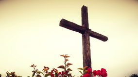 Looking Up At Wooden Cross stock video footage