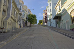 Looking uphill in a San Franciso California street. Royalty Free Stock Photos