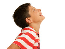 Looking upstairs boy Royalty Free Stock Photo