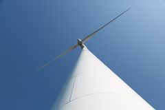 Looking upward to a big wind turbine Royalty Free Stock Photo