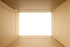 Cardboard box inside looking out copy space Royalty Free Stock Images