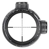 Looking through used rifle scope with Mil-Dot reticle, three clipping paths stock images