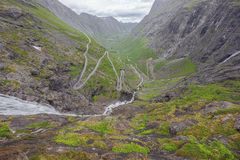 Looking into the valley to Andalsnes. From the top of the Trollstigen stock photo