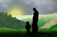 Looking at the view. Illustration of father and son looking at the view in the mountains royalty free illustration
