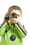 Looking through viewfinder. Little boy looking through viewfinder photo over white stock photos