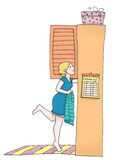 Looking in wardrobe. A young woman looks in her wardrobe. Digital colors. Illustration isolated on a white background Stock Image