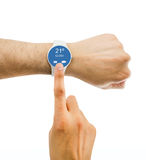 Looking the weather with my smartwatch Royalty Free Stock Photos